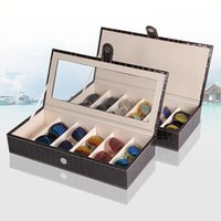 Wholesale 6 Slot Luxury Leather Glasses Display Box Sunglasses Watch Jewelry Storage Case with Leather Lid