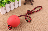 Wholesale Dog training ball stringed playing rubber solid rebound dog chews rope ball pet supplies string color random