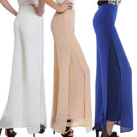 Cheap Wholesale-Summer women casual side split chiffon disco pants Loose high waist wide leg trousers hip hop pants palazzo plus size 6XL