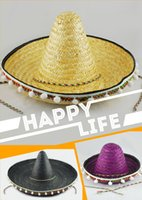 adult witch costume large - Adults Halloween Party Cosplay Costume Hawaii Mexico Big Large Brim Straw Hat Cap With Pompoms Balls Funny Hat For Women Men New