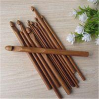 Wholesale 12Pcs set sizes included Household useful hand knitting tool Bamboo crochet hooks for DIY needle work