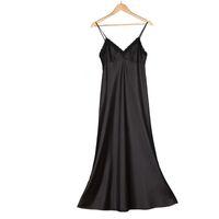 Vestido de la correa de las mujeres Vestido de noche de seda atractivo del párrafo largo de la señora negro Lace Parece limpiando la eslinga del piso por Fly_Dream