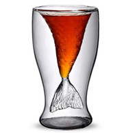 Wholesale 2014 High quality Creative fairy tale Crystal Mermaid Shot Glass Vodka Wine Glasses Double Layers Beer Cup