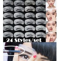 Wholesale 24 Styles Eyebrow Shaping Stencils Grooming Kit Makeup Shaper Set Template Tool