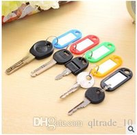 assorted key rings - 2015 Creative Patented Plastic Key Ring ID Lable Name Card Label Luggage Tags Keychain Assorted Keychains Keyrings With Tag LJJC1691