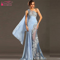 Wholesale One Shoulder Mermaid evening dresses Lace And chiffon Sky Blue Prom dresses Middle East African Formal Dresses Party gowns