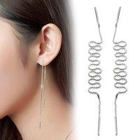 Cheap 2016 New Simple 925 Sliver Long Drop Earrings Fashion Vintage Jewelry Strike Ear Wire Line Chain Earrings For Women Brincos gift