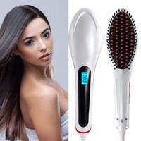 auto temperature control - Hair Straightener Comb Electric LCD Auto Temperature Control Iron Brush Massager