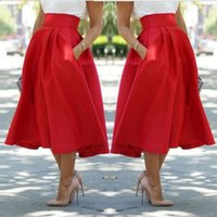 Wholesale Fashion Women Plain High Waist Pleated Red Ball Gown A Line Skater Midi Skirt Brand New Good Quality