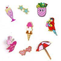 asian drink - Parrot Birds Summer Drink Mermaid Sun Umbrella Ice Cream Metal Brooch Pins Button Pins Fashion Jewelry
