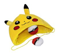Wholesale 10pcs cm cm Poke Center Pikachu Pokeball Plush Hats Dolls Stuffed Toys Cosplay Winter Hat Cap Cartoon Animal Hat Cute