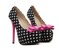 Wholesale New Products Sexy High Heels Elegant Bow Tie Round Toe Platform Keroan Stylish Polka Dots Party Wedding Shoes Women Pumps