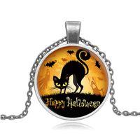 bats beaded necklaces - retro cat bat pendants jewelry Halloween time gem necklace Y092