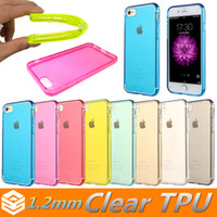 Wholesale Colorful Clear TPU Case Soft Transparent Smooth MM Shockproof Back Cover Silicone Thick Case For iphone S Plus SE Galaxy S6 S7 Edge