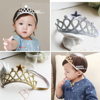 Wholesale Star Tiara Wholesale - Baby Girl Headbands Kids Imperial crown Hair Accessories Tiaras Headbands With Star And Diamond Hair Accessories Free shipping E958