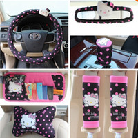 Wholesale set Black Hello Kitty Steering Wheel Mirror Seat Belt Visor Cover Neck Pillows Car Interiors