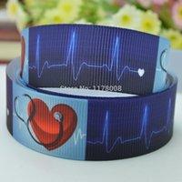Wholesale quot mm CHD Heart Printed grosgrain ribbon hairbow DIY handmade OEM YD