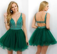 Wholesale Short Emerald Green Homecoming Dresses Sexy Back with Rhinestones Tiers Tulle with Crystal Sweet Cocktail Graduation Gowns Mini Party Wear