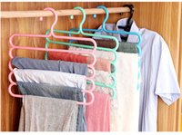 Wholesale Color anti skid trousers rack Hanger multi function layer pants hanger scarf silk tie mounts Plastic Cloth Rack Clothes Peg