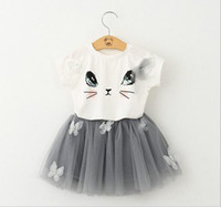 Wholesale 2016 new children s wear in summer Girls lovely cat T shirt bitter fleabane bitter fleabane gauze skirt outfit