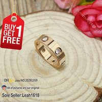 Wholesale Screws Love Ring Pink Gold With Stones New Version Screws Style Ring Fashion Jewelry Brand Gifts For Women Men Rose Gold Plated