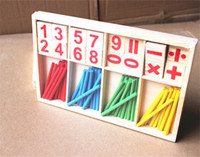 baby math games - 2016 New Baby Children Wooden Counting Math Game Mathematics Toys Kids Preschool Education Intelligence Stick Figures Box ZD023A