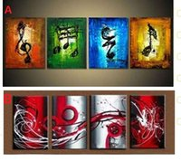 Cheap Free Shipping,4PCS Pure Handmpainted Modern Abstract Wall Decor Art Oil Painting Canvas,Choose from pictures with customized size accepted