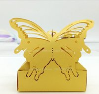 al por mayor caramelo envuelto amarillo-El laser cortó el envío libre 200Pcs C364 del regalo del sostenedor del favor del banquete de boda de las cajas del caramelo del color de la mariposa del color Envío libre