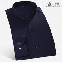 banded dress shirt - Autumn Men s Banded Collar Shirt Long Sleeve Cotton Slim Fit Solid Color Mens Business Casual Dress Shirts