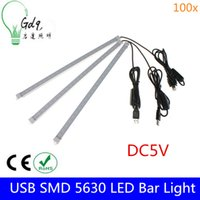 Wholesale 100x New Arrival USB Switch Adjustable LEDs M W SMD LED Rigid Strip Hard Bar Light Tube Lamp DC5V