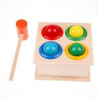 Wholesale 1Set Hammering Wooden Ball Hammer Box Children Early Learning Educational Toys K5BO