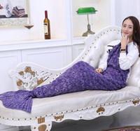 Wholesale Medium size Mermaid Tail Blanket Tail Blanket Crochet Blanket Taking a nap Blanket for Girls Knitting Fish Scale and Tassel Design