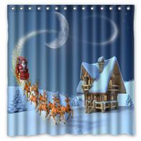 bath house designs - Christmas Eve House Moon Deer Design Shower Curtain Size x cm Custom Waterproof Polyester Fabric Bath Shower Curtains