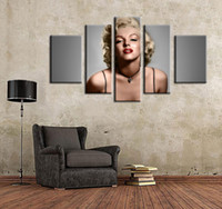 Wholesale 2016 Top Fashion Limited More Panel Fashion No Chinese Writing Cloth Resim Tuval Painting Canvas Sexy Goddess Monroe Piece Face Wall Art
