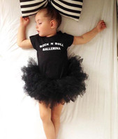 baby pettiskirt set - Ins Newborn Baby Infant Toddler Black Cotton Short Tutu Onesies Romper Princess Girl Jumpsuit Outfits Pettiskirt One piece Bodysuits Sets