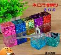 alcohol water - Large Water Cube Bright colored glass alcohol lamp glass hookah smoking pipe Glass gongs oil rigs glass bongs glass hookah smoking pipe