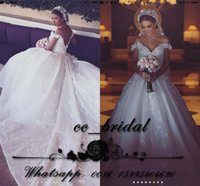 Wholesale Saudi Arabia Wedding Dresses Ball Gown Sexy V neck Off Shoulder Romantic Flowers Vestidos de novia Luxury Cathedral Train Bridal Gowns
