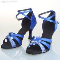 arrival pointe - Fashion Nice new arrival satin latin dance shoes women s soft sole med heel cm cm dancing shoes blue black bronze