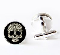 Wholesale dark skull cufflinks gold sugar skull cufflinks Custom cufflink Father of the grooms cuff links