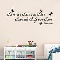 al por mayor etiquetas de la pared cita de bob marley-.Bob Marley cita del amor la vida que vivir Vine arte de la pared de la etiqueta engomada de la decoración del envío libre