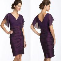 Wholesale Layered Evening Dress Knee Length - Short Sheath Purple Mother Of Groom Dresses 2016 New V Neck Layered Knee Length Party Women Dress Short Sleeves Chiffon Evening Gowns