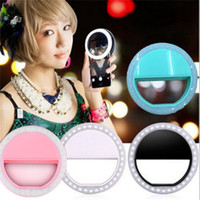Wholesale Clip on LED selfie light lamp circle round shape LED flash light USB self timer spotlight for mobile camera ipad with charging cable