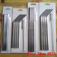 Wholesale Yeti stainless Steel Straws oz oz yeti cups coolers Drinking Straws suckers Bend Straight metal Straws With Cleaning Brush Set