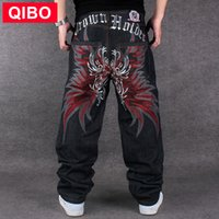 Wholesale Baggy Plus Size Men Denim Jeans Hip Hop Butterfly Wing Red Embroidery Skateboard Pants Brand Clothing Balck Straight Trousers