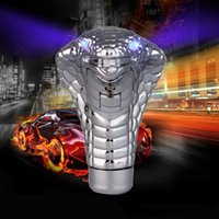 Wholesale Snake Shaped Silver Car Styling Blue LED Eyes Interior Accessory Car Gear Shift Knob Auto manual gear head