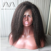 kinky straight full lace wigs - Hair Wigs For Black Women Natural Color kinky Straight Human Hair Wigs Glueless Full Lace Wig With Baby Hair
