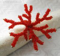 beaded napkin holders - coral red napkin rings glass beaded flower napkin holder