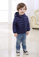 Wholesale NEWEST Winter Autumn Kids Duck Down Long sleeve hooded Coat Jacket Clothes Pure Colors Boys Girls Outwear To Ages Children Clothes