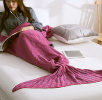 Wholesale 5 color New Blanket Crochet Doft Mermaid Knit Blankets Bed Sleepping Cartoon Mermaid Sleeping Bag K7901