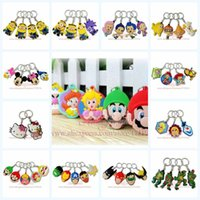 Wholesale Minions Avengers Ninja Turtles Mickey Minnie Super Mario Keychains Accessories Badge Holder Key chains School Supplies
